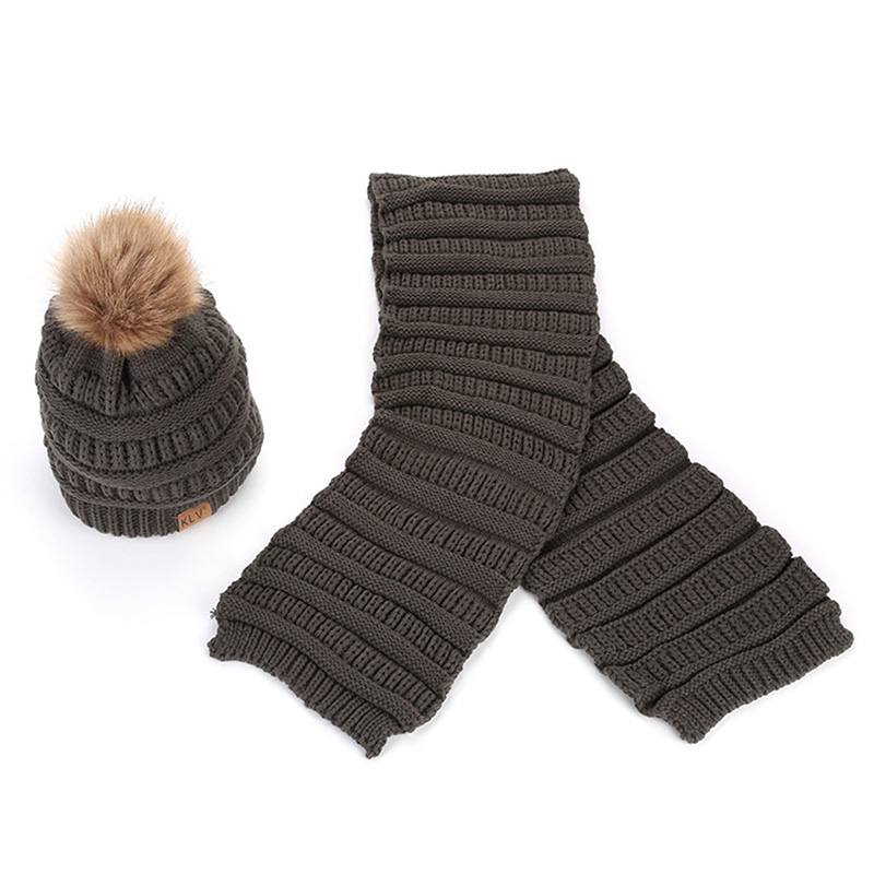2 Piece Sets Women Winter Hat&Scarf Set Women Winter Warm Women  Windproof Solid Fur Pompon Beanie And Knitted Wool Warm Scarf