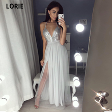 LORIE Sexy V-neck Sequin Long Prom Dresses Slit Formal Evening Gowns Tulle Evening Dress New Floor Length Custom Grey Prom Gown gorgeous coral mermaid prom 2019 new v neck luxury crystal tulle beaded backless sequin long formal gowns bridesmaid dresses