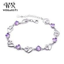 WEGARASTI серебро 925 ювелирные изделия элегантный браслет ювелирные изделия 925 пробы серебро натуральный фиолетовый Аметист Любовь Сердце милый женский браслет