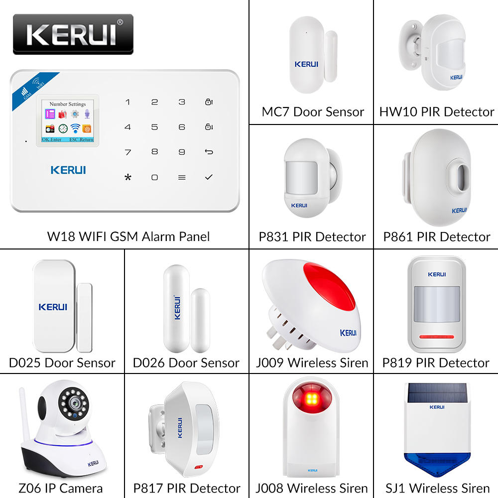 KERUI W18 DIY Wireless WiFi GSM Home Security Alarm System Burglar Android IOS Smart APP Remote Control Two Way Audio Kit
