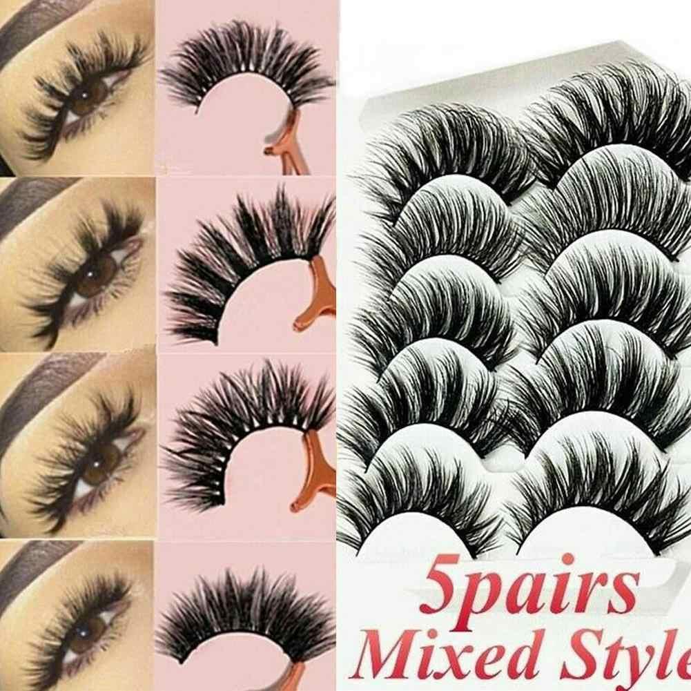 5pairs 3D vizon saç sahte kirpik doğal/kalın uzun göz Lashes makyaj güzellik uzun ömürlü kirpik uzatma araçları