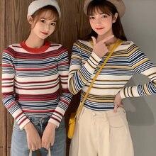 Женский трикотажный свитер в полоску shintimes эластичный пуловер