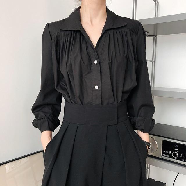 2020 Women Autumn Puff Sleeve Blouses Long Sleeve Turn Down Collar Womens Tops And Blouses White Shirt Blusas Roupa Feminina 4