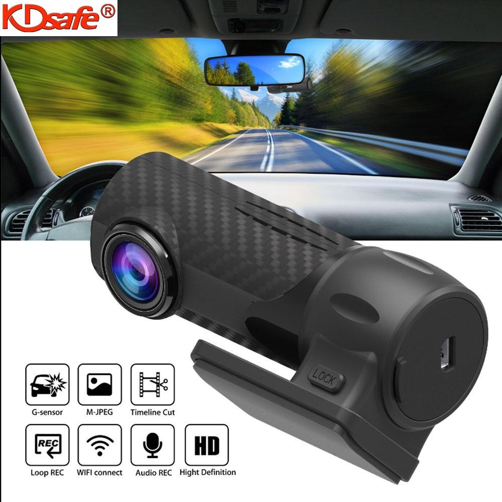 KDsafe-Mini cámara de salpicadero DVR para coche, grabadora de vídeo con WIFI, HD 1080P 360, lente Dual, visión nocturna, sensor G