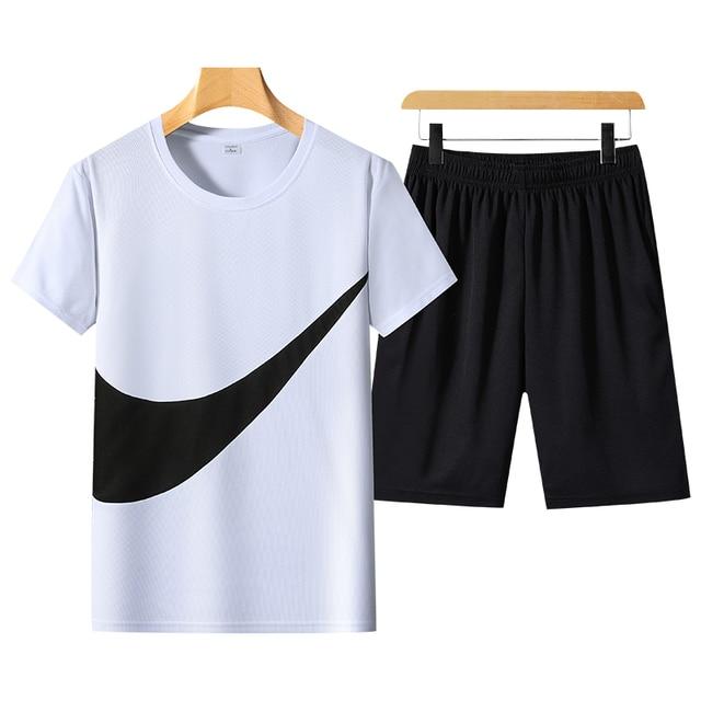 2021 New Men's T-shirt + Sports Shorts Set Summer Breathable Casual T-shirt Running Set Fashion Harajuku Printed Male Sport Suit 5