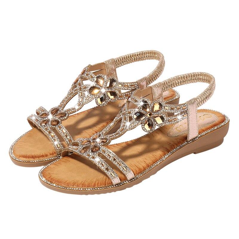 Women's Sandals Flower Bohemian Style Fashion Woman Sandals Diamonds Party Wedges Shoes Femme