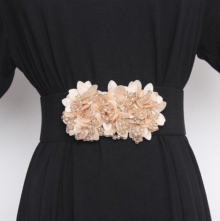 Women's Runway Fashion Flower Beaded Elastic Cummerbunds Female Dress Corsets Waistband Belts Decoration Wide Belt R2840