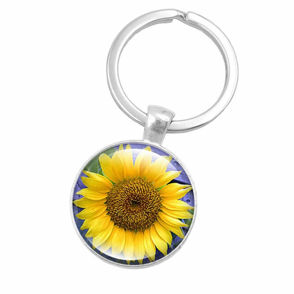 جديد وصول المفاتيح المعدنية مفتاح سلسلة عباد الشمس جوهرة المفاتيح نمط الأحجار الكريمة مفتاح أوروبا والولايات المتحدة بيع الزجاج