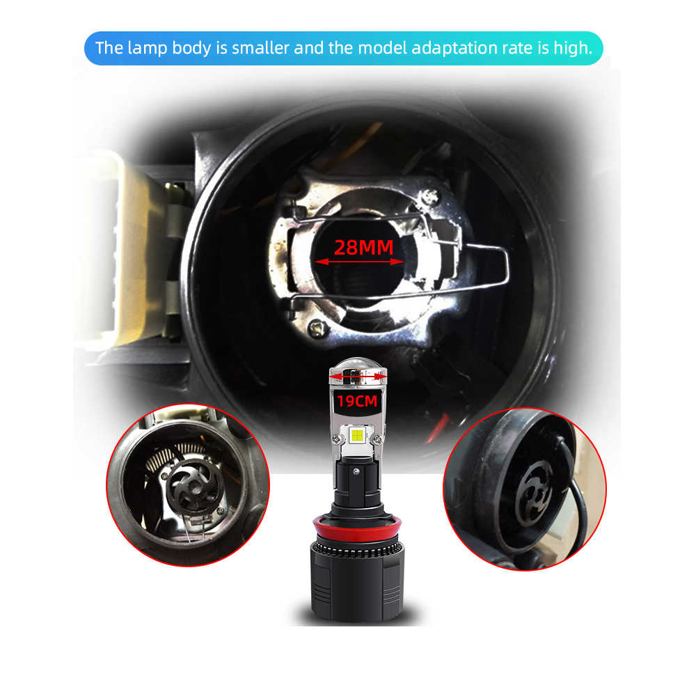 Lampe-projecteur de voiture, Mini Bi LED, 70 w/paire, phare de voiture H4 led, 10 000lm H7 H11 LED H8 H9 HB4 HB3 9005 9006