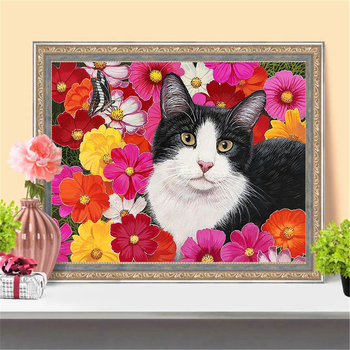 HUACAN Full Drill Diamond Painting Cat Embroidery Animal Handmade Wall Stickers Diamond Art Home