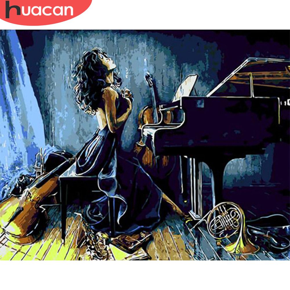 HUACAN DIY Oil Painting Piano Girls Painting By Numbers Paint Canvas Picture Hand Painted Pictures Modern Home Decor Gift