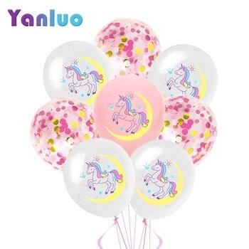 Set de 10 Uds. De globos de confeti de unicornio de 12 pulgadas, fiesta de cumpleaños decoración para, boda, Baby Shower, suministros para fiesta