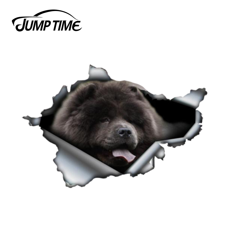Jump Time 13cm X 8.7cm Chow Chow Sticker Torn Metal Decal Wild Animal Funny Car Stickers Window Bumper 3D Car Styling