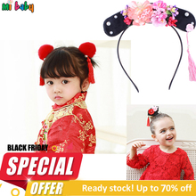 Детские аксессуары, заколки для волос, детские тканевые заколки с бантом и цветком, заколки для волос, головной убор для девочек, корона в китайском стиле