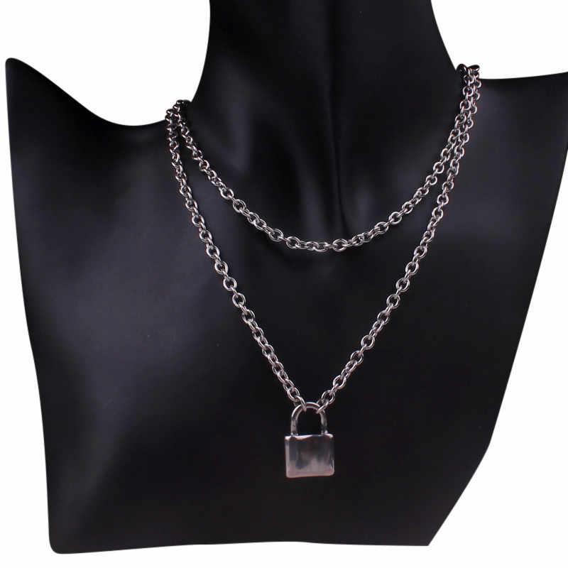 (Kolor nie blakną) warstwowe łańcuchy hiphop Punk ze stali nierdzewnej stalowa kłódka naszyjnik mężczyźni rock blokowane ostrze naszyjniki dla kobiet di067