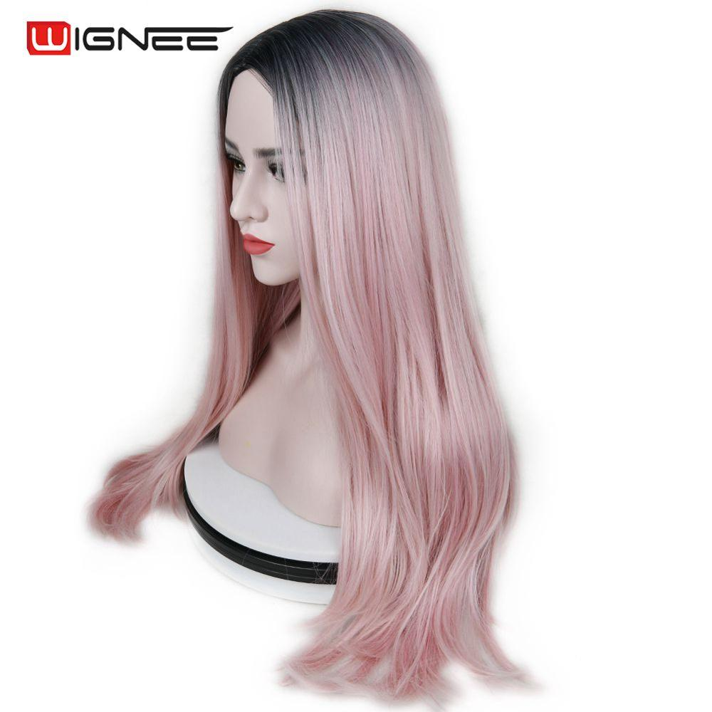 Wignee Long Heat Resistant Synthetic Fiber Straight Wigs For Women Ombre Pink/Grey/BUG Glueless Daily/Cosplay Natural Hair Wig