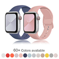 Мягкая силиконовая лента для наручных часов Apple Watch серии 6 SE 5 4 3 2 1 38 мм 42 мм резиновый ремешок для наручных часов iWatch, версия 4/5 40 мм 44 мм