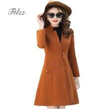 Элегантное женское шерстяное пальто Новая весна Осень Тонкий Средний Длинное пальто Корейский Мода Основные Черные Пальто Одежда