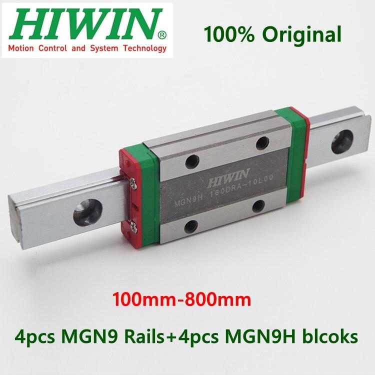 4pcs Original Hiwin Linear Rail MGN9 150 200 250 300 330 350 400 450 500 600 Mm MGNR9 Guide + 4pcs MGN9H Blocks Carriage Cnc 9mm