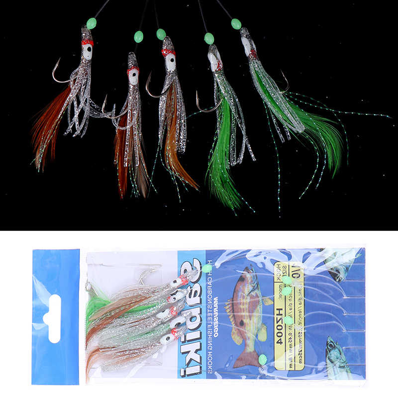 5 In 1 Night Luminous Soft Fishing Lure Fishhook Octopus Shaped Feather Fishing String Hook Bait Fishing Tackle