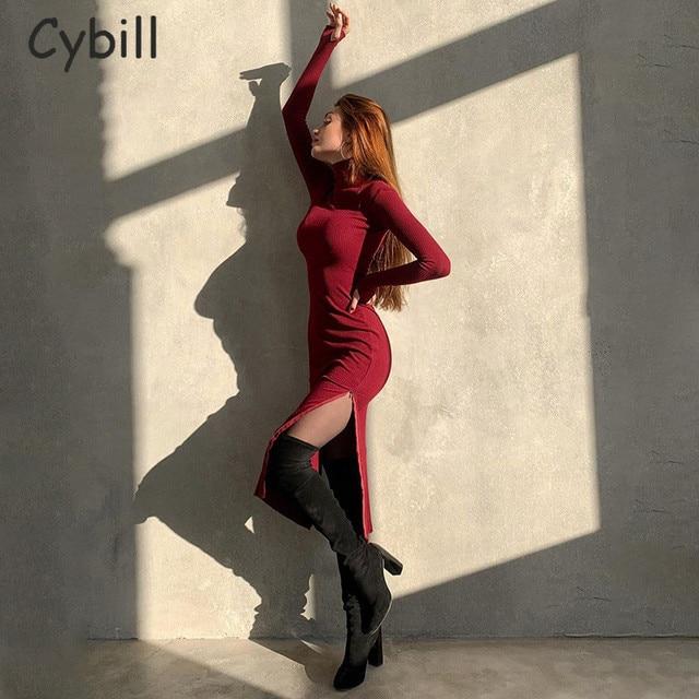 Cybill Long Sleeve Turtleneck Midi Dress Split Autumn Winter Ribbed Knitted Dress Casual Red Black Dresses Women 3