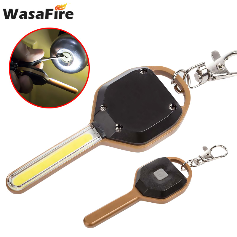 Wasafire 10pcs/lot Wholesale Small Keychain Torch Mini Key Shape Flashlight 2 Mode Portable Lantern Emergency Camping Light