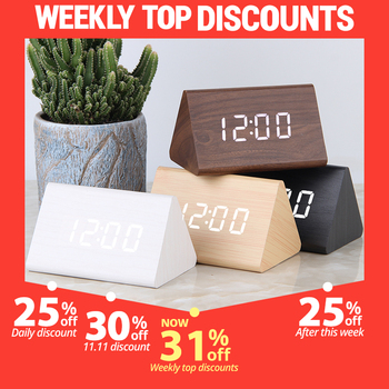 LED Digital Clock Wooden Alarm Table Sound Control Electronic Clocks Desktop USB/AAA Powered Desperadoes Home Decor - discount item  31% OFF Home Decor