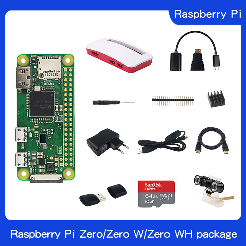 Raspberry Pi Zero W Kit 512MB RAM Onboard WiFi And Bluetooth + Acrylic Protection Case + Night Vision Camera +32GB Memory Card