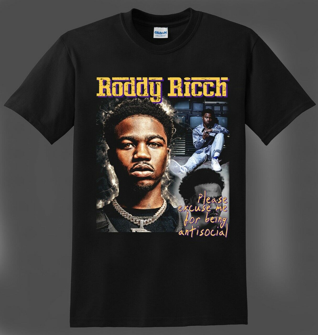 Roddy Ricch T-Shirt Being Antisocial Inspired Rap Hip Hop R&B Tee