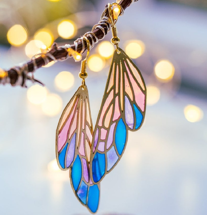 Charm Gold Silver Color Dangle Earrings Trendy Female Rainbow Butterfly Wings Earrings For Women Cute Bride Drop Wedding Earring