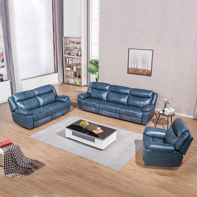 Living room first-class multi-functional cabin combination leather sofa large-size stylish simple lazy lazy electric recliner image