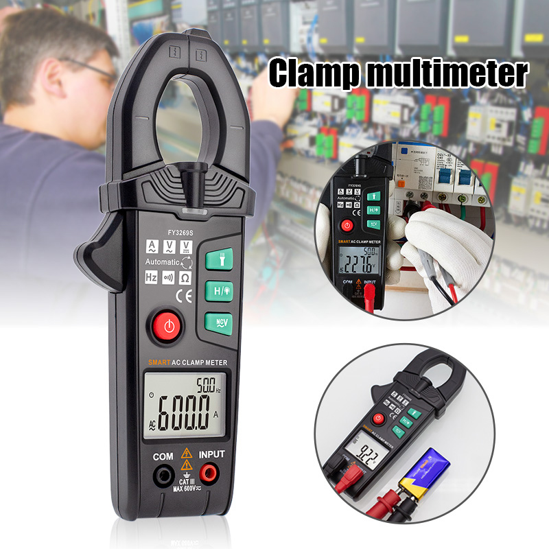 FY3269S Digital Multimeter 6000 Counts Current Clamp Voltmeter Ammeter Auto Amper Clamp Meter 600A AC/DC Voltage Testers FKU66