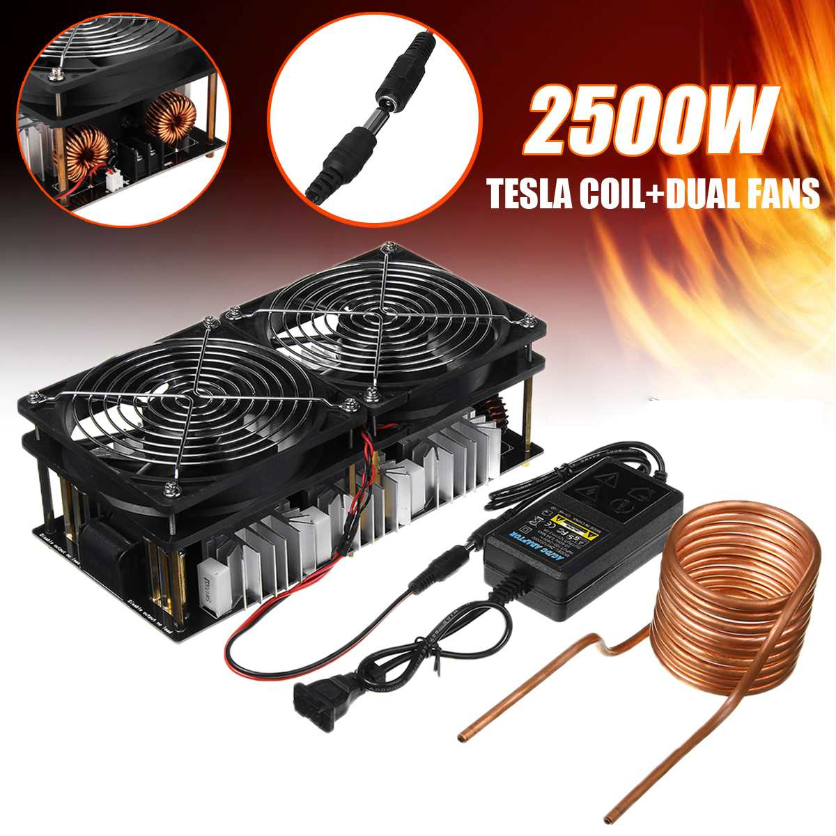 2500W 12V-48V ZVS Induction Heater Heating PCB Board Module Flyback Driver with Coil Dual Fan Power Supply kit