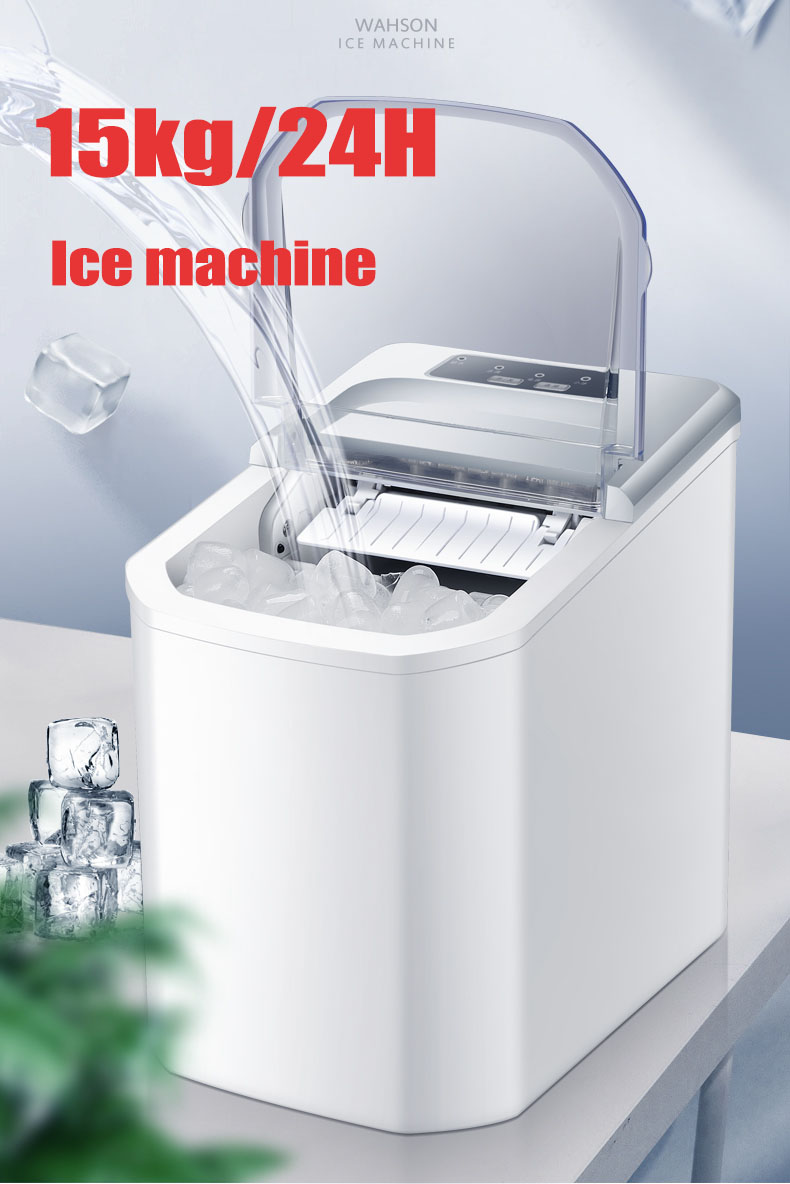 Electric Automatic Ice Maker 15kg/24H Commercial Milktea Coffee Shop Bar Mini Bullet Round Block Ice Cube Making Machine EU Plug