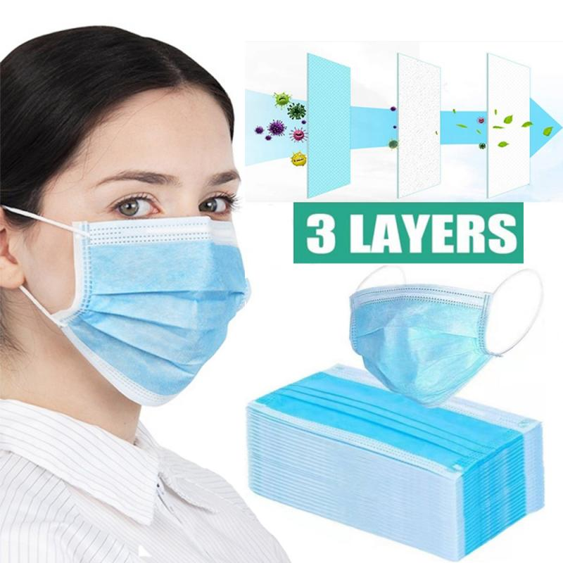 1/5/10/50 Pcs Non-Woven Disposable Protective Face Masks3 Layers Anti-Dust Antibacterial PM2.5 NCoV FFP1 FFP2 FFP3 Earloops Mask