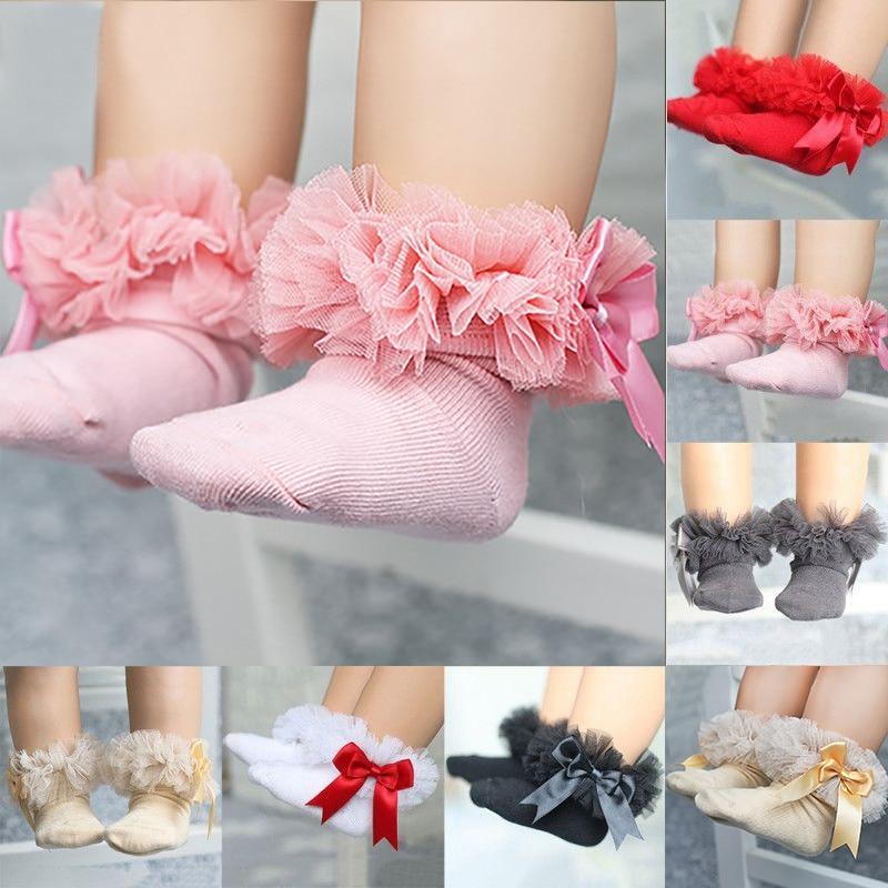 Newborn Baby Girls Boys Anti-Slip Socks Bowknot Slipper Shoes Stocking L 2019