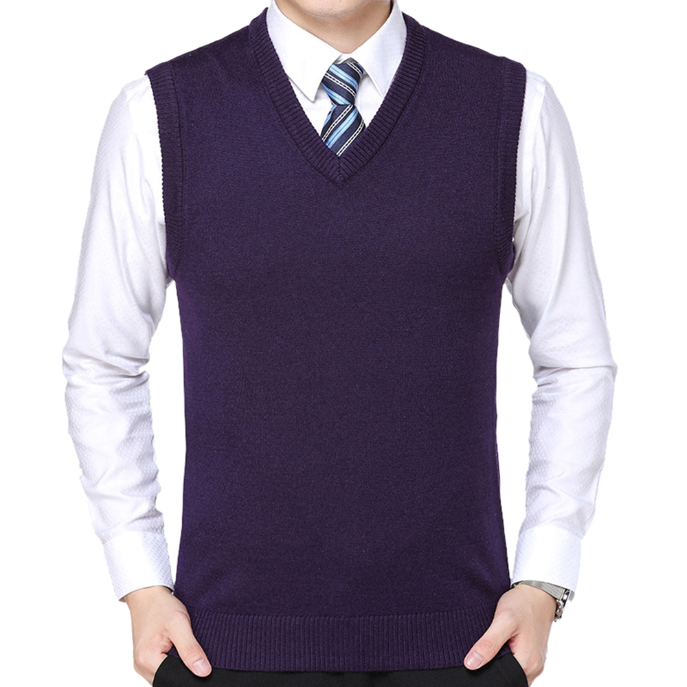 WENYUJH 2019 Men Knitted Sweater Vest Solid Color Cashmere Sweaters Sleeveless Pullover Men V-Neck Slim Knitted Waistcoat Hombre