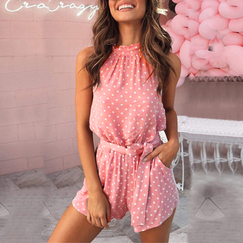 2019 Summer Beach Halter Backless Rompers Women Polka Dot Belted Playsuits Rk #E 2