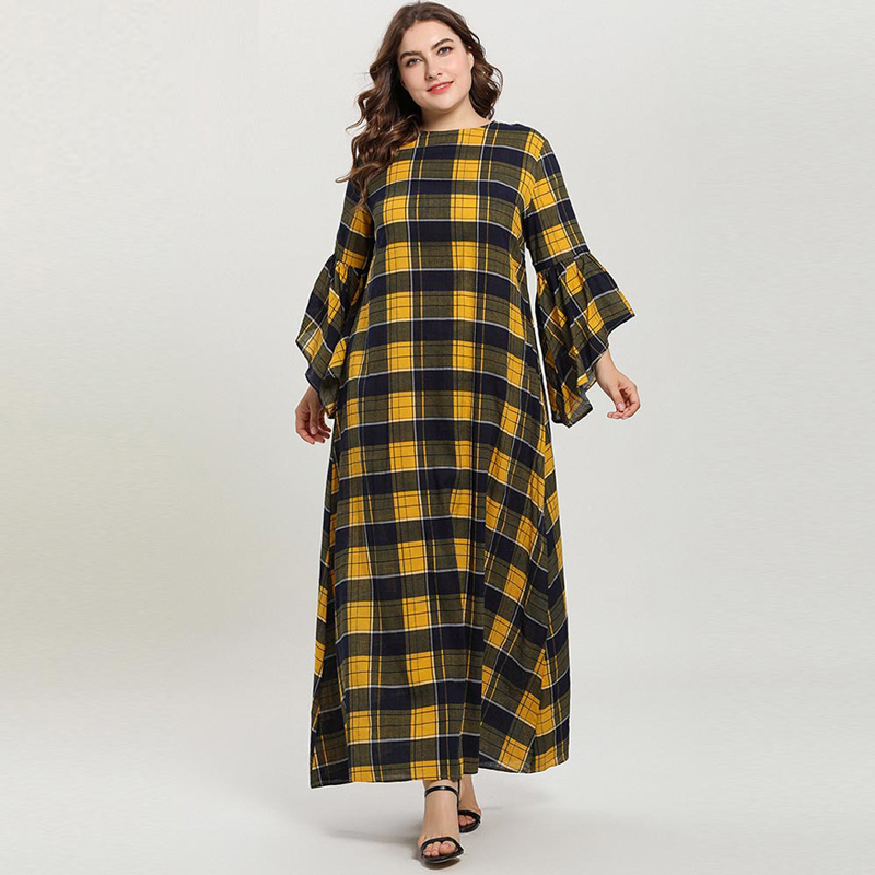 2020 Women Yellow Plaid Muslim Dress Plus Size Flare Sleeve Loose Long Dresses Islamic Dress Vestidos XXXL 4XL