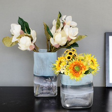Небесно-Голубой под яркими цветными стеклами американская ваза с ораментами геометрическое цветное стекло Скандинавское украшение для дома
