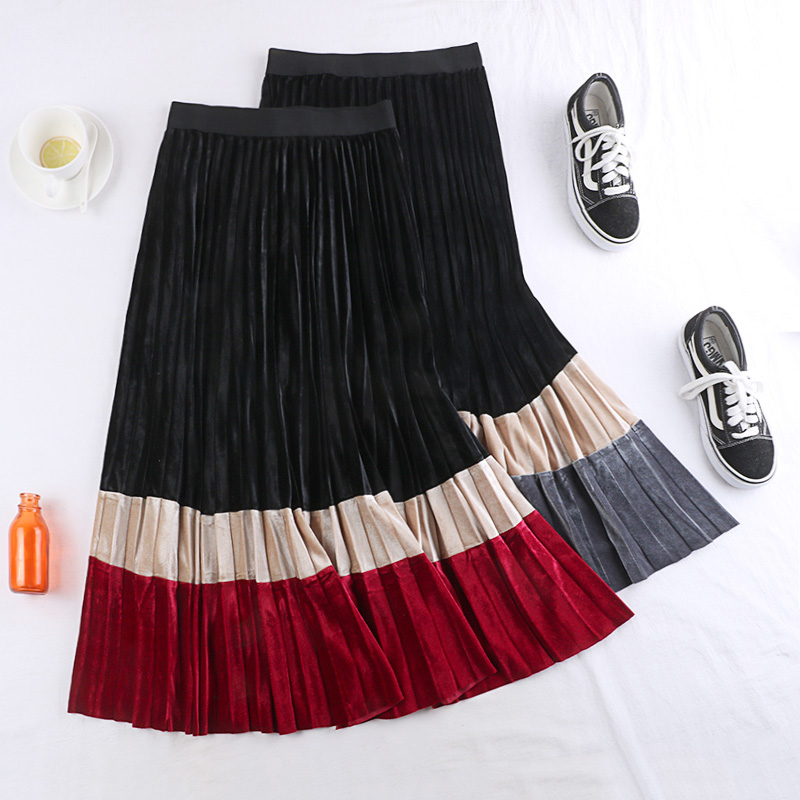 2019 New Autumn Winter Vintage Patchwork Velour Skirt Women Fashion Panelled High Waist Skirts Slim All-Match Pleated Skirt W840