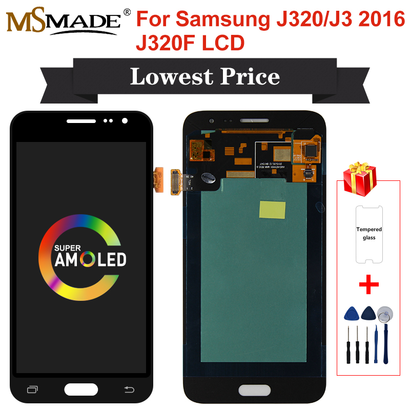 Super <font><b>AMOLED</b></font> For Samsung Galaxy J3 2016 <font><b>J320</b></font> J320FN J320F J320H J320M <font><b>LCD</b></font> Display Touch Screen Digitizer Replacement Parts image