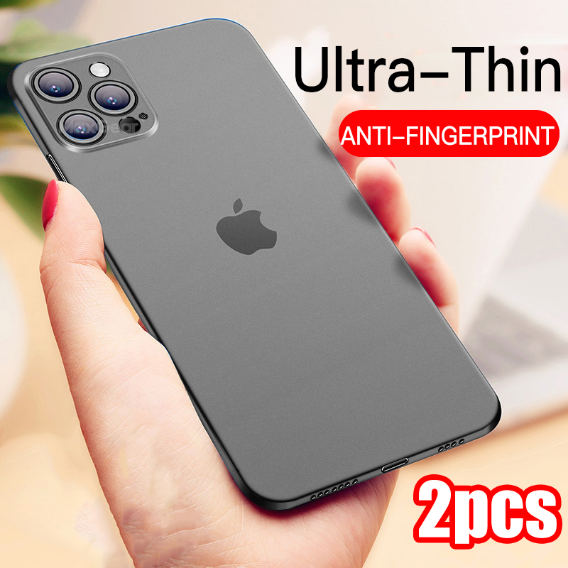 2PCS Ultra Thin Matte PP Case For Iphone SE 2020 11 12 Mini Pro XS Max X XR 6S 6 7 8 Plus Full Cover Shockproof Protective Capa|Fitted Cases|   - AliExpress