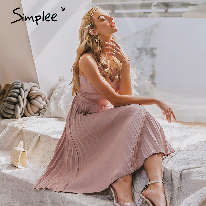Simplee Sexy v-neck women party dress Elegant spaghetti strap female pleated office dress Solid female pink midi summer dresses 2