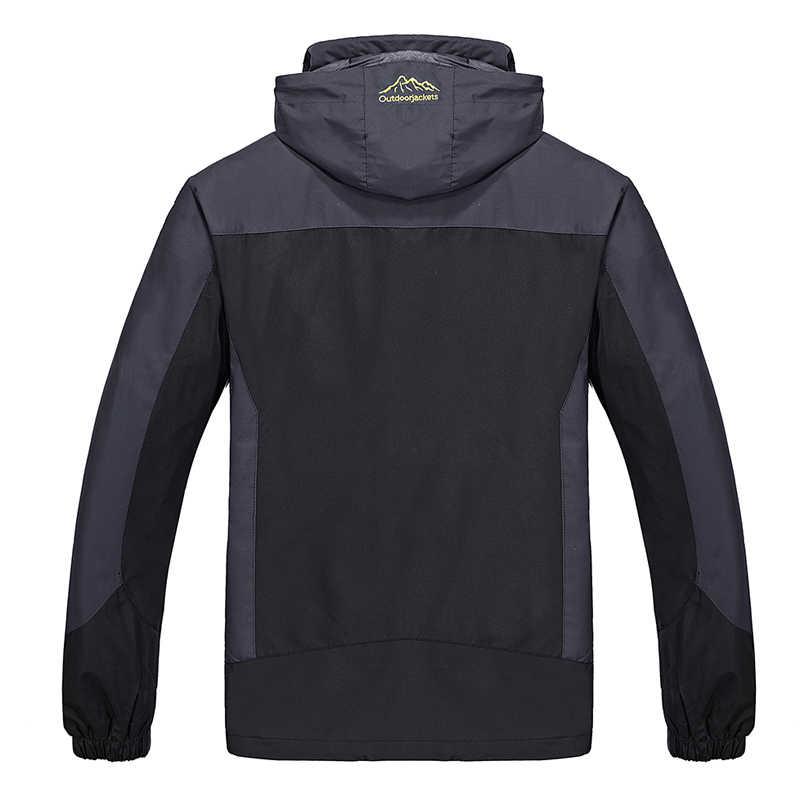 Plus rozmiar 8XLwinter kurtki męskie wkładka jest wymienny płaszcze na co dzień z kapturem męska wiatrówka wiatroszczelna, wodoodporna, męskie kurtki
