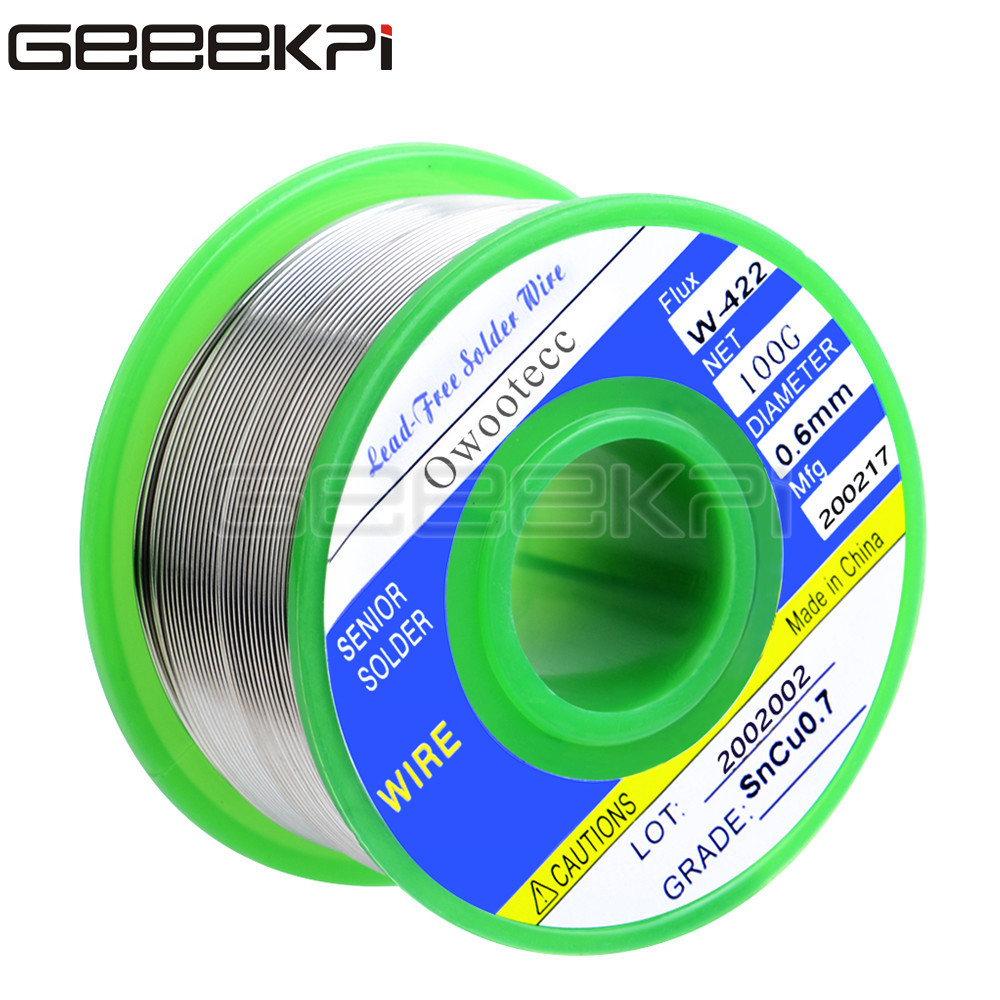 GeeekPi 0.6mm 100g Sn99.3Cu0.7 Lead-free Solder Unleaded Wire Rosin Core For Electrical Solder RoHs Welding Iron Wire Reel