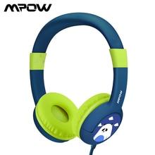 Mpow CH1 키즈 헤드폰 85dB 볼륨 제한 유선 헤드셋 귀여운 팬더 귀에 청력 보호 헤드폰 청소년을위한 마이크