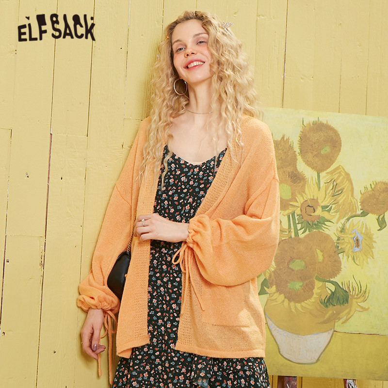 ELFSACK Multicolor Solid Lace Up Minimalist Knit Casual Women Cardigans 2020 Spring Korean Pocket Lantern Sleeve Girly Basic Top