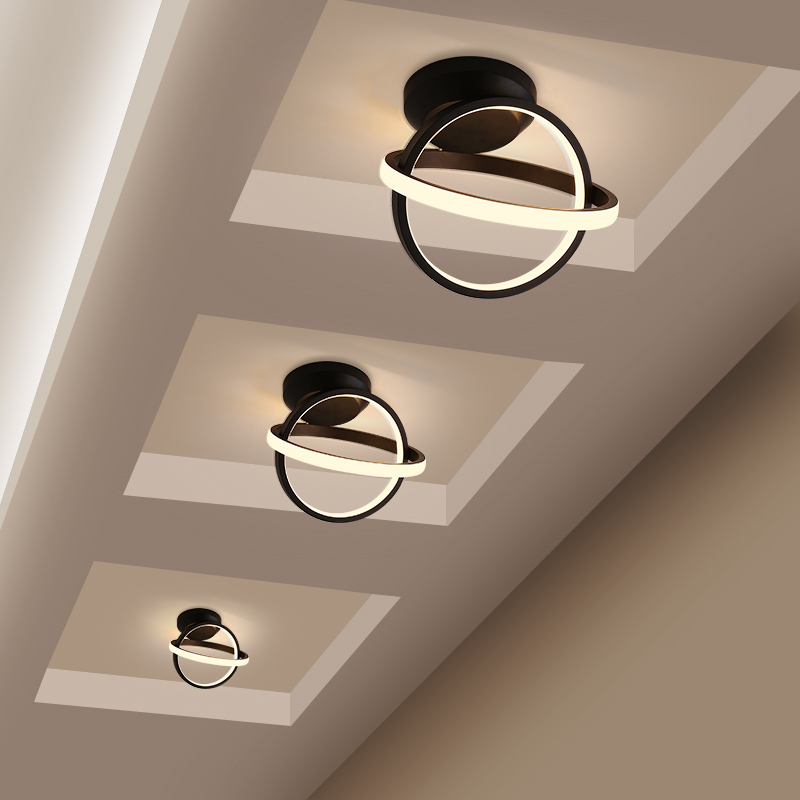 Artpad Modern High Bright 20W Corridor Ceiling Light Round Double Ring Minimalist Porch Entrance Hall Balcony Led Ceiling Lamp