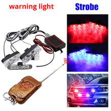 4X3/LED Strobe Warning Lights Grille Wireless Remote Police light DC 12V For Car Truck Emergency Light Flashing Firemen
